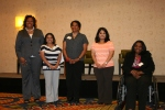 Nadine Sadiq Ali (second from right), a Health information Management major at Marymount Reston, joins other HIMSS NCA Annual Scholarship Award winners. HIMSS NCA's Wanda Gamble (left) presented the awards during the chapter's May 17, 2012 meeting at Rosslyn, VA.